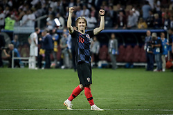 July 11, 2018 - Moscow, Vazio, Russia - Croatia's Luka MODRIC celebrates qualifying after match between England and Croatia valid for the semi final of the 2018 World Cup, held at the Lujniki Stadium in Moscow in Russia. Croatia wins 2-1. (Credit Image: © Thiago Bernardes/Pacific Press via ZUMA Wire)
