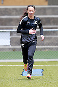 Ferns Daisy Cleverley warms up. Football Ferns Media and Training Session, QBE Stadium Auckland, Wednesday 12th November 2014. Photo: Shane Wenzlick