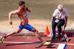 11-08-2017 IAAF World Championships Athletics day 8, London<br /> Pieter Braun NED (tienkamp) in actie tijdens het tweede onderdeel verspringen