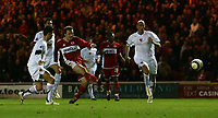 Photo: Jed Wee.<br /> Middlesbrough v FC Basle. UEFA Cup. Quarter-Final. 06/04/2006.<br /> <br /> Middlesbrough's Mark Viduka scores to give them faint hope.