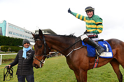 Tower Bridge and J J Slevin after winning the Nathaniel Lacy & Partners Solicitors Novice Hurdle during day one of the Dublin Racing Festival at Leopardstown Racecourse.
