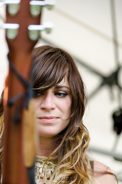 Nicole Atkins behind her guitar at The Appel Farm's 2011 Arts & Music Festival in Elmer, NJ.