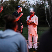 """Recovering opioid addict Neal Catlett, of Lexington, Kentucky,  talks with during a """"healing ceremony""""  with """"shaman/sitter"""" Madhu in Lexington on Wednesday, October 18, 2017. Catlett, who wants to start a church using the substance, as well as a growing contingent of users believe the venom can help with reducing and ultimately overcoming many forms of addiction."""