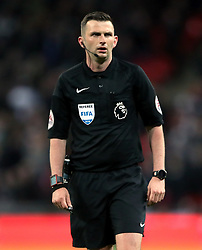 """Match referee Michael Oliver during the Premier League match at Wembley Stadium. London. PRESS ASSOCIATION Photo. Picture date: Monday April 30, 2018. See PA story SOCCER Tottenham. Photo credit should read: Nick Potts/PA Wire. RESTRICTIONS:  EDITORIAL USE ONLY No use with unauthorised audio, video, data, fixture lists, club/league logos or """"live"""" services. Online in-match use limited to 75 images, no video emulation. No use in betting, games or single club/league/player publications."""