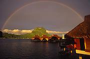 Bora Bora Lagoon Resort at sunset with rainbow, Bora Bora, French Polynesia<br />
