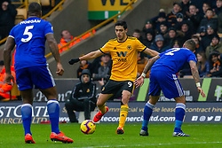 January 19, 2019 - Wolverhampton, England, United Kingdom - Raul Jimenez of Wolverhampton Wanderers being closed down by Danny Simpson of Leicester City  during the Premier League match between Wolverhampton Wanderers and Leicester City at Molineux, Wolverhampton, UK. On Saturday 19th January 2019. (Credit Image: © Mark Fletcher/NurPhoto via ZUMA Press)