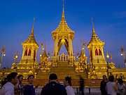 13 DECEMBER 2017 - BANGKOK, THAILAND:  The west side of the Royal Crematorium on Sanam Luang in Bangkok. The crematorium was used for the funeral of Bhumibol Adulyadej, the Late King of Thailand. He was cremated on 26 October 2017. The crematorium is open to visitors until 31 December 2017. It will be torn down early in 2018. More than 3 million people have visited the crematorium since it opened to the public after the cremation of the King.    PHOTO BY JACK KURTZ