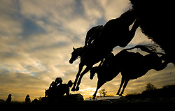 Runners in the Coral Welsh Grand National Handicap Chase during the Coral Welsh Grand National day at Chepstow Racecourse.