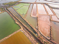Aerial view of colorful salt marsh in Portugal.