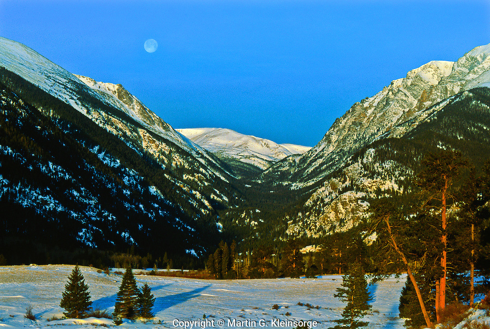 Moon set over Endovalley, viewed from Horseshoe Park.  Rocky Mountain National Park, Colorado.