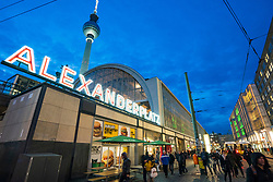 View of Alexanderplatz railway station and Television Tower or Fersehturm at Mitte in Berlin, Germany