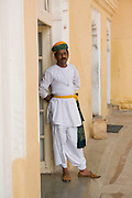 India, Rajasthan, Jodhpur, Mehrangarh fort A guard in traditional dress