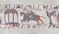 Bayeux Tapestry scene 11 :  Two messengers rush from William to Guy de Ponthieu with orders fro Harolds release.  BYX11 .<br /> <br /> If you prefer you can also buy from our ALAMY PHOTO LIBRARY  Collection visit : https://www.alamy.com/portfolio/paul-williams-funkystock/bayeux-tapestry-medieval-art.html  if you know the scene number you want enter BXY followed bt the scene no into the SEARCH WITHIN GALLERY box  i.e BYX 22 for scene 22)<br /> <br />  Visit our MEDIEVAL ART PHOTO COLLECTIONS for more   photos  to download or buy as prints https://funkystock.photoshelter.com/gallery-collection/Medieval-Middle-Ages-Art-Artefacts-Antiquities-Pictures-Images-of/C0000YpKXiAHnG2k