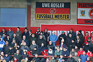 Fleetwood fans during the EFL Sky Bet League 1 match between Fleetwood Town and Blackpool at the Highbury Stadium, Fleetwood, England on 25 November 2017. Photo by Paul Thompson.