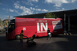 © Licensed to London News Pictures . 13/05/2016 . Liverpool , UK . Labour In for Britain campaign bus in Williamson Square in Liverpool . Photo credit : Joel Goodman/LNP