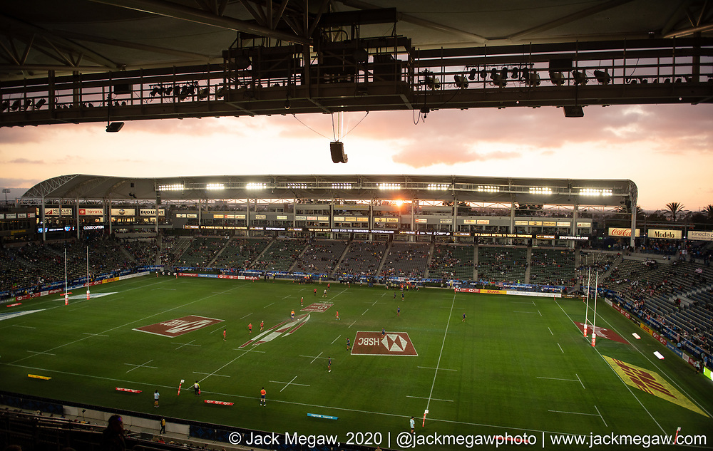 A general stadium of the stadium during the group stages of the 2020 Los Angeles Sevens at Dignity Sports Health Park in Los Angeles, California. February 29, 2019. <br /> <br /> © Jack Megaw, 2020