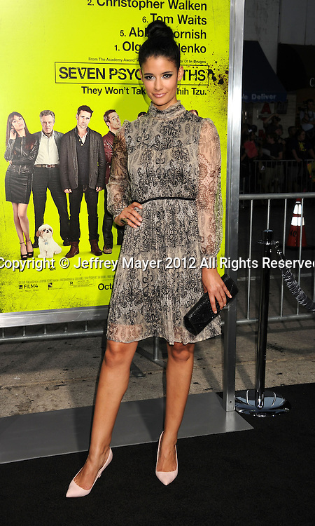 WESTWOOD, CA - OCTOBER 01: Jessica Clark arrives at the Los Angeles premiere of 'Seven Psychopaths' at Mann Bruin Theatre on October 1, 2012 in Westwood, California.