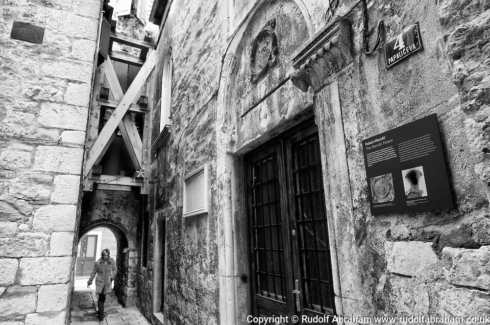 Street in Diocletian's Palace, with wooden bracing between buildings, Split, Croatia