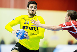Mario Sostaric of RK Gorenje during handball match between RK Gorenje Velenje (SLO) and Pfadi Winterthur (SUI) in Group Phase of EHF European Cup 2014/15, on March 8, 2015 in Rdeca dvorana, Velenje, Slovenia. Photo by Vid Ponikvar / Sportida