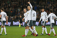 Zlatan Ibrahimovic of Manchester United celebrates after scoring his sides 2nd goal. Premier league match, West Ham Utd v Manchester Utd at the London Stadium, Queen Elizabeth Olympic Park in London on Monday 2nd January 2017.<br /> pic by John Patrick Fletcher, Andrew Orchard sports photography.