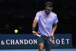 November 14, 2017 - London, England, United Kingdom - Roger Federer of Switzerland plays in the singles match against Alexander Zverev of Germany on day three of the Nitto ATP World Tour Finals at O2 Arena, London on November 14, 2017. (Credit Image: © Alberto Pezzali/NurPhoto via ZUMA Press)