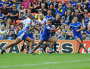 Warrington Wolves Chris Sandow makes a break for the line during the Ladbrokes Challenge Cup Semi-Final  match Warrington Wolves -V- Wakefield Trinity Wildcats at , Leigh, Greater Manchester, England on Saturday, July 30, 2016. (Steve Flynn/Image of Sport)