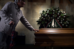 October 14, 2016 - Milan, Italy - The coffin of Italian artist Dario Fo is pictured in the burial chamber of Teatro Piccolo in Milan on October 14, 2016. Dario Fo, 90, an Italian actor-playwright, comedian, singer, theatre director, stage designer, songwriter, painter and political campaigner, died on October 13, 2016. (Credit Image: © Fabrizio Di Nucci/NurPhoto via ZUMA Press)