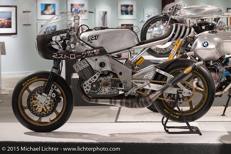 """Roland Sands' '74 Yamaha RD 400 in Michael Lichter's annual Motorcycles as Art Show """"Naked Truth"""" at the Buffalo Chip during the 75th Annual Sturgis Black Hills Motorcycle Rally.  SD, USA.  August 6, 2015.  Photography ©2015 Michael Lichter."""