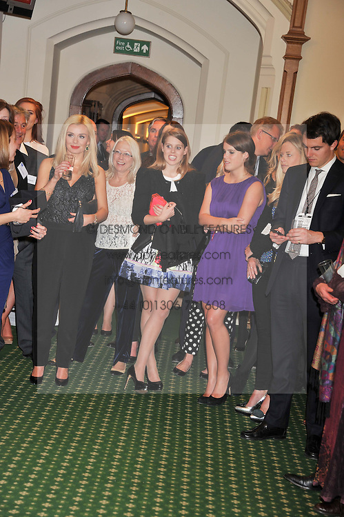 KATHERINE JENKINS, PRINCESS BEATRICE OF YORK and PRINCESS EUGENIE OF YORK at a reception for The Mirela Fund in partnership with Hope and Homes for Children hosted by Natalie Pinkham in The Churchill Room, House of Commons, London on 30th April 2013.