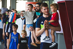 Ziga Dimec and his son with fans during arrival of Slovenian national team from Tokio 2020 Olympic games, 8. August 2021, Airport Jozeta Pucnika, Ljubljana, Slovenia. Photo by Grega Valancic