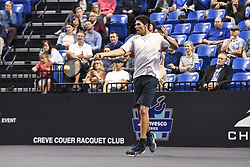 October 4, 2018 - St. Louis, Missouri, U.S - MARK PHILIPPOUSSIS with the forehand return during the Invest Series True Champions Classic on Thursday, October 4, 2018, held at The Chaifetz Arena in St. Louis, MO (Photo credit Richard Ulreich / ZUMA Press) (Credit Image: © Richard Ulreich/ZUMA Wire)