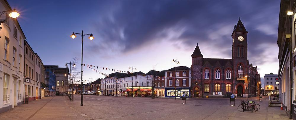 Market Place at dusk, Newbury, Berkshire, Uk