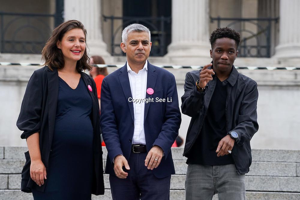 London,England,UK, 22th July 2016 : Jessie Ware, Tinchy Stryder join the Mayor of London Sadiq Khan Launch of International Busking Day '#LondonIsOpen' in Trafalgar Square, London, UK. Photo by See Li