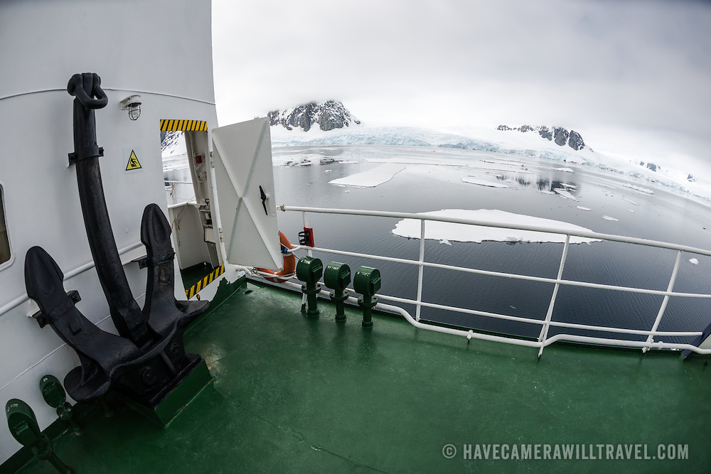 On the bow of the Polar Pioneer, an Antarctic cruise ship operated by Aurora Expeditions.