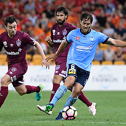 BRISBANE, AUSTRALIA - NOVEMBER 19: Joshua Brillante of Sydney controls the ball during the round 7 Hyundai A-League match between the Brisbane Roar and Sydney FC at Suncorp Stadium on November 19, 2016 in Brisbane, Australia. (Photo by Patrick Kearney/Brisbane Roar)