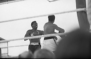 Ali vs Lewis Fight, Croke Park,Dublin..1972..19.07.1972..07.19.1972..19th July 1972..As part of his built up for a World Championship attempt against the current champion, 'Smokin' Joe Frazier,Muhammad Ali fought Al 'Blue' Lewis at Croke Park,Dublin,Ireland. Muhammad Ali won the fight with a TKO when the fight was stopped in the eleventh round...Photo shows Ali knocking Lewis back with a swinging left punch.
