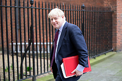 © Licensed to London News Pictures. 29/01/2018. London, UK. Foreign and Commonwealth Secretary Boris Johnson leaving Downing Street after attending a Brexit meeting this morning. Photo credit : Tom Nicholson/LNP
