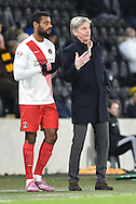 Jose Riga head coach of Charlton Athletic with Ricardo Vaz Te of Charlton Athletic  during the Sky Bet Championship match between Hull City and Charlton Athletic at the KC Stadium, Kingston upon Hull, England on 16 January 2016. Photo by Ian Lyall.