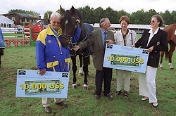 W.H.M Maessen breeder of Larone with Melchior Leon and Melchior Judy Ann<br /> World Championship Young Horses Lanaken 1999<br /> © Hippo Foto - Dirk Caremans
