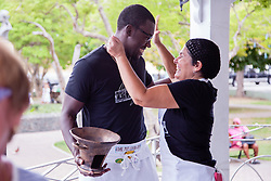 Dawn Comissiong and special assistant Julius Jackson celebrate their first place win.  Coal Pot Cook-Off  at Emancipation Garden raising funds for St. Thomas Historical Trust.  St. Thomas, VI.  19 May 2015.    © Aisha-Zakiya Boyd