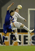 "Photo: Richard Lane.<br />Croatia v England. UEFA European Championships 2008 Qualifying. 11/10/2006. <br />England""s Wayne Rooney is challenged by Niko Kovac."