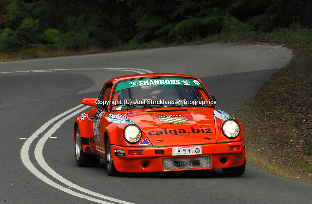 Bill Pye & Grant Geelan .1974 Porsche RS.Day 2.Targa Tasmania 2009.30th of April 2009.(C) Joel Strickland Photographics.