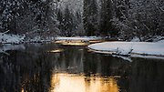 Morning light on the Merced River in winter, Yosemite National Park, California USA