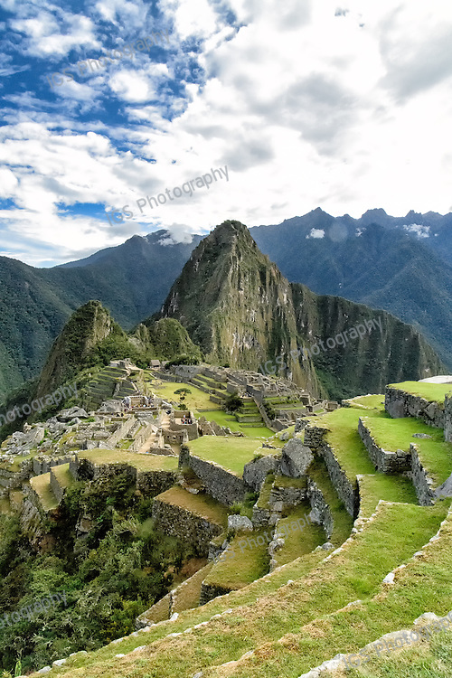 View of Machu Picchu ruins from the western slope