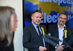 Pictured: New SNP MEP's Alyn Smith and Christian Allard listen to colleague Aileen McLeod speak after the declaration.<br /> <br /> Scotland's results in the European elections were announced at the City Chambers in Edinburgh.<br /> <br /> © Dave Johnston / EEm