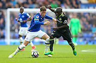 Ross Barkley of Everton and Ngolo Kante of Chelsea battle for the ball. Premier league match, Everton v Chelsea at Goodison Park in Liverpool, Merseyside on Sunday 30th April 2017.<br /> pic by Chris Stading, Andrew Orchard sports photography.