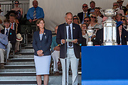 """Henley on Thames, United Kingdom, 8th July 2018, Sunday, Chairmann and Prizegiver, left, """"Dame Katherine GRAINGER"""" and """"Sir Steven REDGRAVE"""",  """"Fifth day"""", of the annual,  """"Henley Royal Regatta"""", Henley Reach, River Thames, Thames Valley, England, © Peter SPURRIER,"""