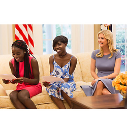 """Ivanka Trump releases a photo on Instagram with the following caption: """"Honored to have welcomed Joy and Lydia, two incredible young women from Chibok, Nigeria to the White House last week. They shared with me their remarkable journey in overcoming tremendous adversity, and I am in awe of their courage and heart. I look forward to watching them flourish as they begin a new chapter at Southeastern University this fall. \nJoy and Lydia, I am so proud of you both! Thank you for inspiring us with your story."""". Photo Credit: Instagram *** No USA Distribution *** For Editorial Use Only *** Not to be Published in Books or Photo Books ***  Please note: Fees charged by the agency are for the agency's services only, and do not, nor are they intended to, convey to the user any ownership of Copyright or License in the material. The agency does not claim any ownership including but not limited to Copyright or License in the attached material. By publishing this material you expressly agree to indemnify and to hold the agency and its directors, shareholders and employees harmless from any loss, claims, damages, demands, expenses (including legal fees), or any causes of action or allegation against the agency arising out of or connected in any way with publication of the material."""