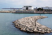 View of the Discovery Museum and Milwaukee Harbor, Milwaukee, Wisconsin, USA.
