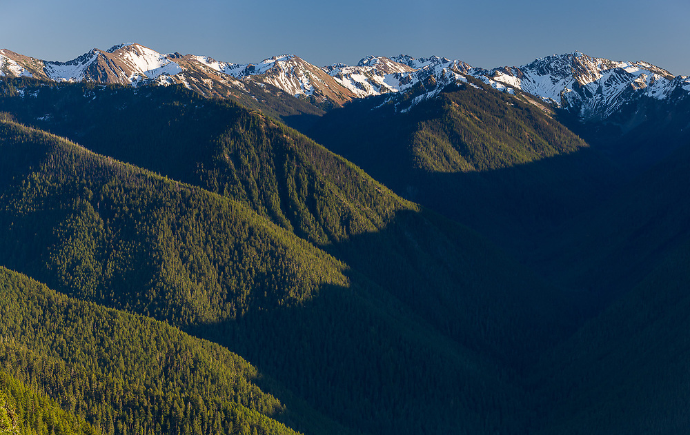Lilian River Valley panorama, view from Hurricane Ridghe, afternoon light, October, Olympic National Park, WA, USA